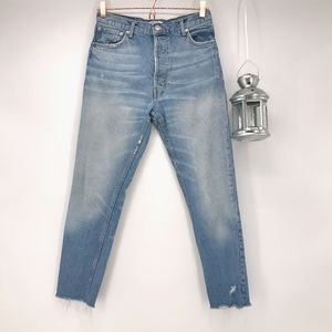 Zara High Rise Distressed Button Fly Mom Jeans